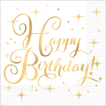 Picture of TABLEWARE - GOLD BIRTHDAY LUNCHEON NAPKINS - HOT STAMPED