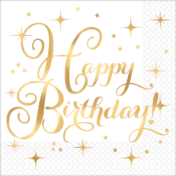 Picture of TABLEWARE - GOLD BIRTHDAY BEVERAGE NAPKINS - HOT STAMPED