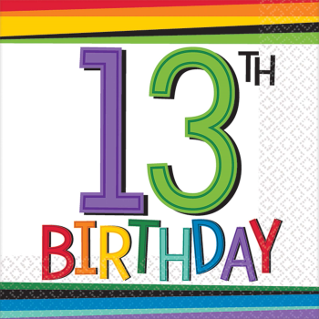 Picture of 13th RAINBOW BIRTHDAY BEVERAGE NAPKIN