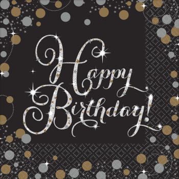 Picture of TABLEWARE - SPARKLING CELEBRATION HAPPY BIRTHDAY - LUNCHEON NAPKINS