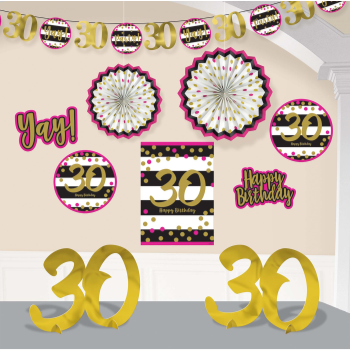 Picture of 30th - PINK/GOLD MILESTONE ROOM DECO KIT