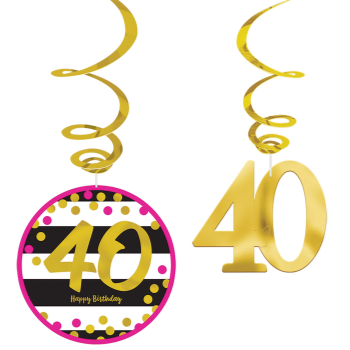 Picture of 40th - MILESTONE SWIRL DECO - PINK/GOLD