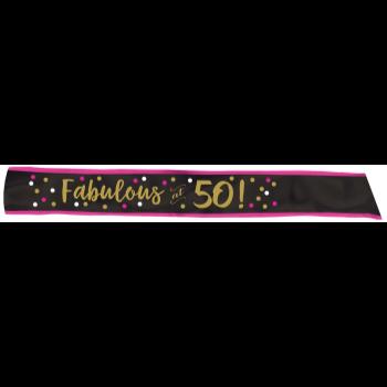 Image de 50th - FABULOUS AT 50 FABRIC SASH - PINK/GOLD