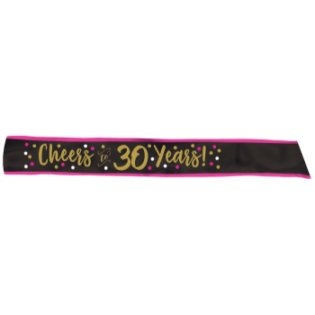 Picture of 30th - CHEERS TO 30 FABRIC SASH - PINK/GOLD