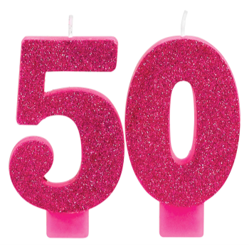 Picture of 50th - PINK GLITTER NUMERAL CANDLE