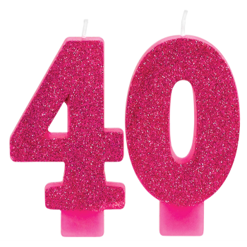 Picture of 40th - PINK GLITTER NUMERAL CANDLE