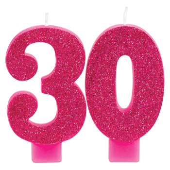 Image de 30th - PINK GLITTER NUMERAL CANDLE