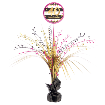 Picture of 40th - PINK AND GOLD MILESTONE SPRAY CENTERPIECE