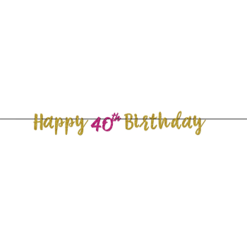Picture of 40th - PINK AND GOLD GLITTER LETTER BANNER