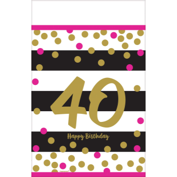Picture of 40th - MILESTONE PLASTIC TABLE COVER - PINK AND GOLD
