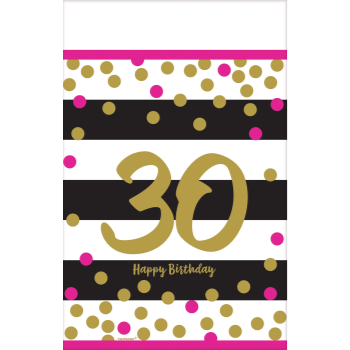 Picture of 30th - PINK AND GOLD MILESTONE PLASTIC TABLE COVER