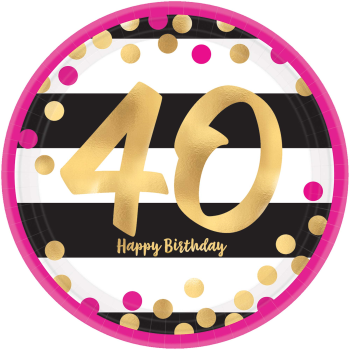 "Picture of 40th - MILESTONE METALLIC 9"" PLATES - PINK AND GOLD"