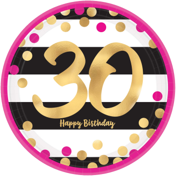 "Picture of 30th - PINK AND GOLD MILESTONE METALLIC 9"" PLATES"