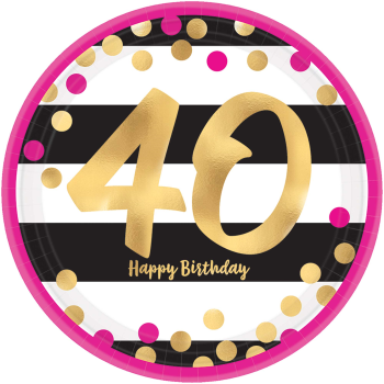 "Picture of 40th - MILESTONE METALLIC 7"" PLATES - PINK AND GOLD"