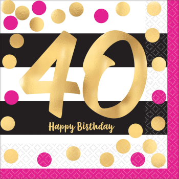 Picture of 40th - PINK AND GOLD MILESTONE - LUNCHEON NAPKIN