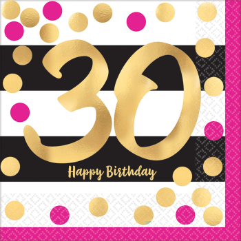 Picture of 30th - PINK AND GOLD MILESTONE - LUNCHEON NAPKIN