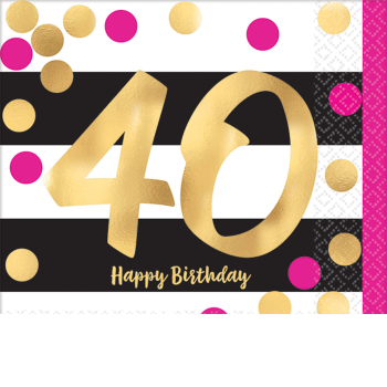 Picture of 40th - PINK AND GOLD MILESTONE BEVERAGE NAPKIN