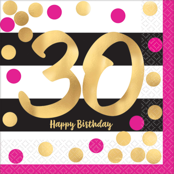 Picture of 30th - PINK AND GOLD MILESTONE BEVERAGE NAPKIN