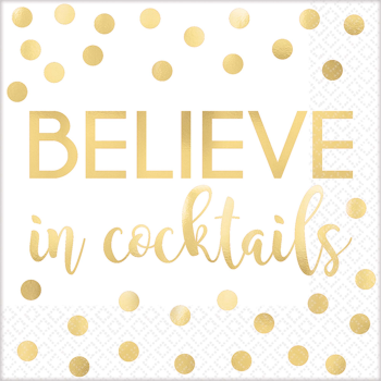Picture of B  BELIEVE IN COCKTAILS -  FOIL BEVERAGE NAPKIN