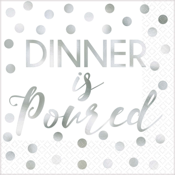 Picture of B DINNER IS SERVED - FOIL BEVERAGE NAPKIN
