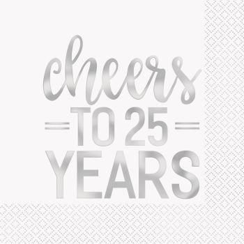 Picture of 25th CHEERS TO 25 YEARS SILVER FOIL LUNCHEON NAPKIN