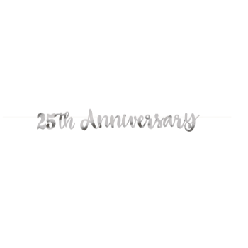Picture of 25TH ANNIVERSARY SILVER SCRIPT LETTER BANNER