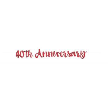 Picture of 40th ANNIVERSARY RED SCRIPT LETTER BANNER