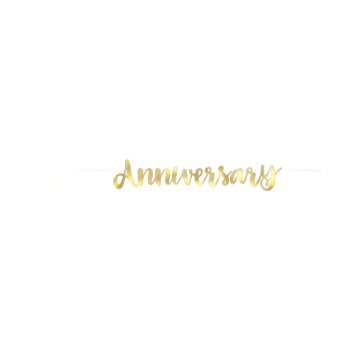 Picture of HAPPY ANNIVERSARY GOLD SCRIPT LETTER BANNER