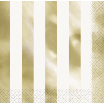 Image de GOLD FOIL STRIPES LUNCHEON NAPKIN