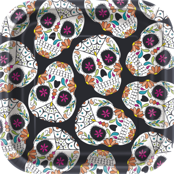 "Picture of SKULL DAY OF THE DEAD - 7"" SQ PLATES"