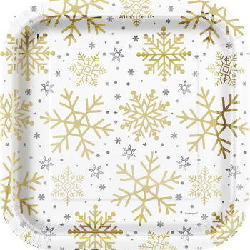 "Picture of TABLEWARE - SILVER & GOLD HOLIDAY SNOWFLAKES - 9"" SQUARE PLATES"