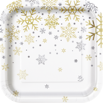 "Image de TABLEWARE - SILVER & GOLD HOLIDAY SNOWFLAKES - 7"" SQUARE PLATES"