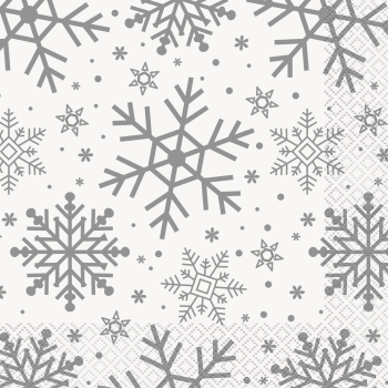 Picture of TABLEWARE - SILVER & GOLD HOLIDAY SNOWFLAKES - LUNCHEON NAPKINS