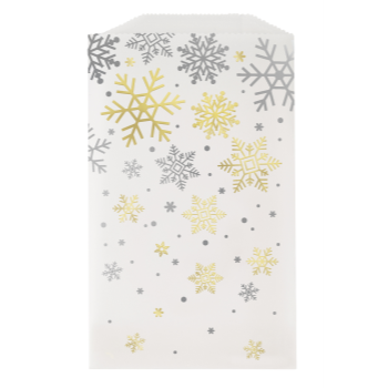 Picture of DECOR - SILVER & GOLD HOLIDAY SNOWFLAKES TREAT BAGS