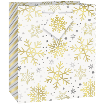 Picture of DECOR - SILVER & GOLD HOLIDAY SNOWFLAKES - MEDIUM GIFT BAG