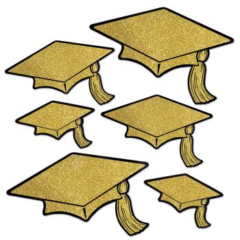 Picture of DECOR - GLITTERED FOIL GRAD CAP CUT OUTS