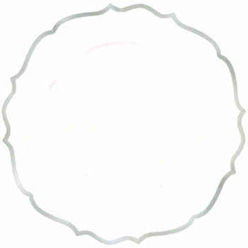"Picture of 10"" PLATES WHITE SILVER TRIMMED ORNATE PREMIUM PLASTIC"