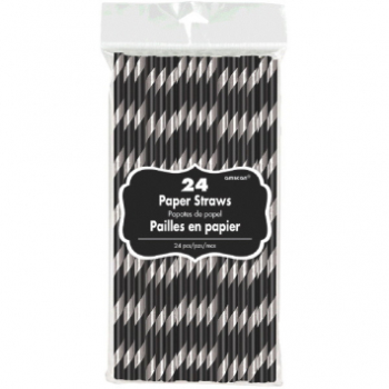 Picture of STRIPED PAPER STRAWS BLACK WITH SILVER 24CT