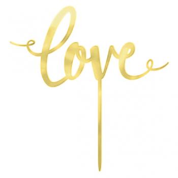 Image de LOVE CAKE TOPPER - GOLD MIRRORED