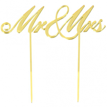 Picture of MR & MRS CAKE TOPPER - GOLD MIRRORED