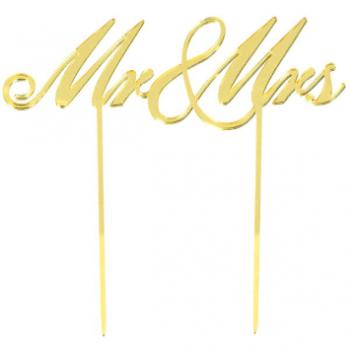 Image de MR & MRS CAKE TOPPER - GOLD MIRRORED