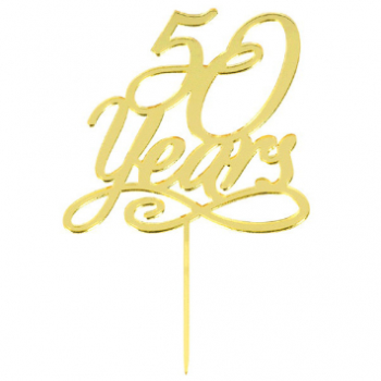 Picture of 50 YEARS CAKE TOPPER - GOLD MIRRORED