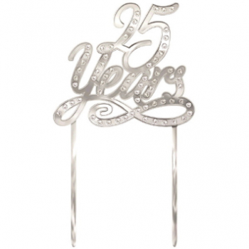 Picture of 25 YEARS CAKE TOPPER PICK - SILVER MIRRORED