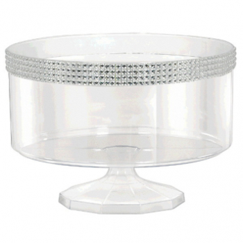 Picture of CLEAR LARGE TRIFLE CONTAINER WITH SILVER GEMS BORDER