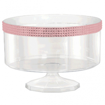 Picture of CLEAR LARGE TRIFLE CONTAINER WITH PINK GEMS BORDER