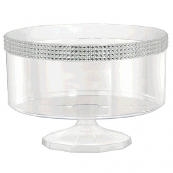 Picture of CLEAR SMALL TRIFLE CONTAINER WITH SILVER GEMS BORDER