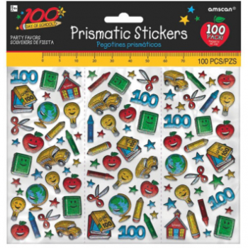 Picture of 100TH DAY OF SCHOOL PRISMATIC STICKERS