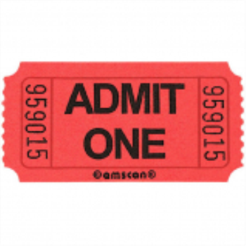 Picture of RED SINGLE ADMIT ONE TICKET - 2000 PER ROLL