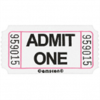 Image de WHITE SINGLE ADMIT ONE TICKET - 2000 PER ROLL