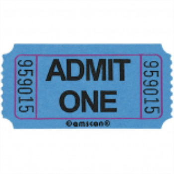 Image de BLUE SINGLE ADMIT ONE TICKET - 2000 PER ROLL